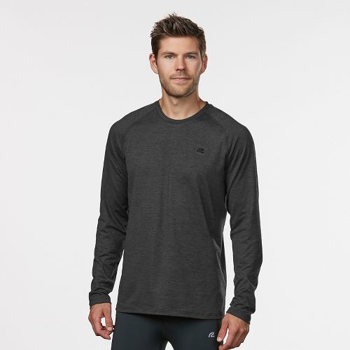 Mens Road Runner Sports Perfect Run Long Sleeve Technical Tops - Charcoal/Black M