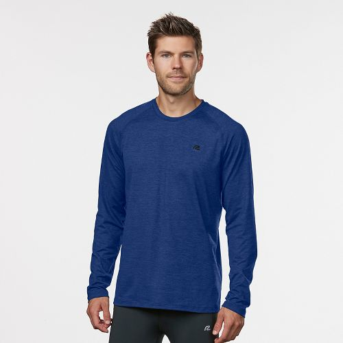 Mens Road Runner Sports Perfect Run Long Sleeve Technical Tops - Cobalt/Black XXL