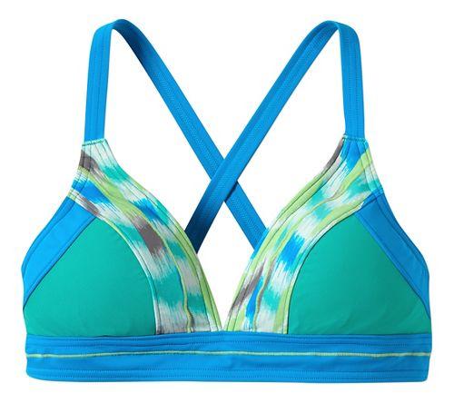 Womens Prana Atla Top Swim - Cool Green Ikat L