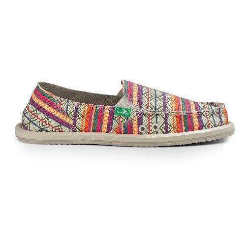 Womens Sanuk Donna Tribal Casual Shoe - Olive/ Multi Tribe Strip 6