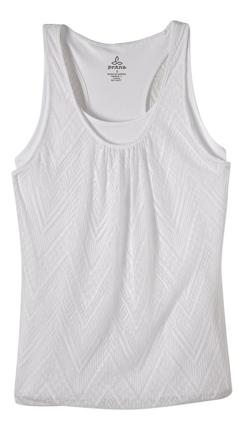 Womens prAna Mika Sleeveless & Tank Tops Technical Tops - White S