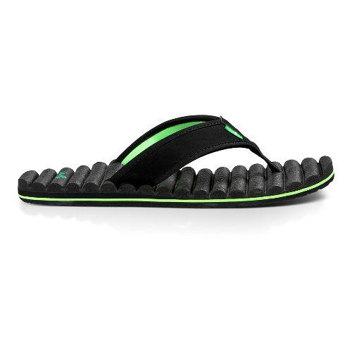 Mens Sanuk Beer Cozy Hop Top Sandals Shoe - Black/Lime 10