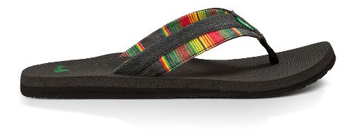 Mens Sanuk Beer Cozy Light Funk Sandals Shoe - Black/Rasta Blanket 12