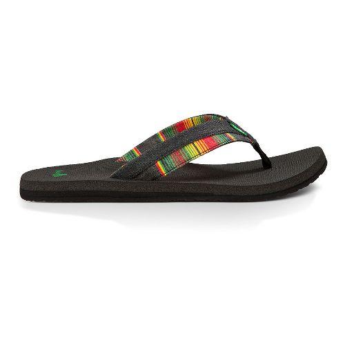 Mens Sanuk Beer Cozy Light Funk Sandals Shoe - Black/Rasta Blanket 9