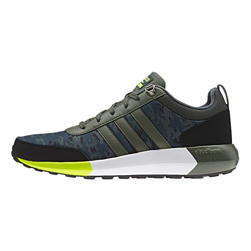 Mens adidas Cloudfoam Race WTR Casual Shoe - Green/Solar Yellow 13