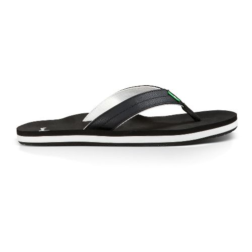 Mens Sanuk Burm Sandals Shoe - Black/White 11