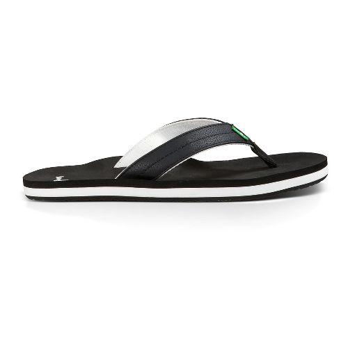 Mens Sanuk Burm Sandals Shoe - Black/White 14