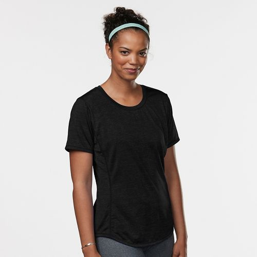 Womens Road Runner Sports Fast and Fab Short Sleeve Technical Tops - Black L