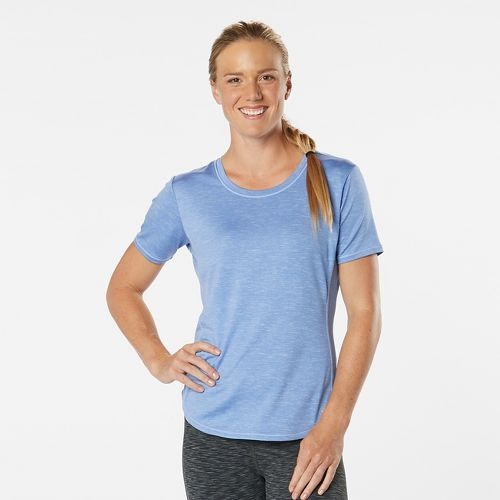 Womens Road Runner Sports Fast and Fab Short Sleeve Technical Tops - Heather Rhythm & Blue XS