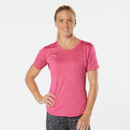 Womens Road Runner Sports Fast and Fab Short Sleeve Technical Tops - Heather Dynamo Pink L