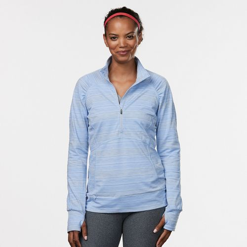 Womens Road Runner Sports Set the Stage Striped Half-Zip Long Sleeve Technical Tops - Sky Light ...