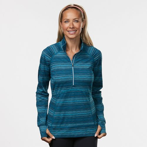 Womens Road Runner Sports Set the Stage Striped Half-Zip Long Sleeve Technical Tops - Teal ...