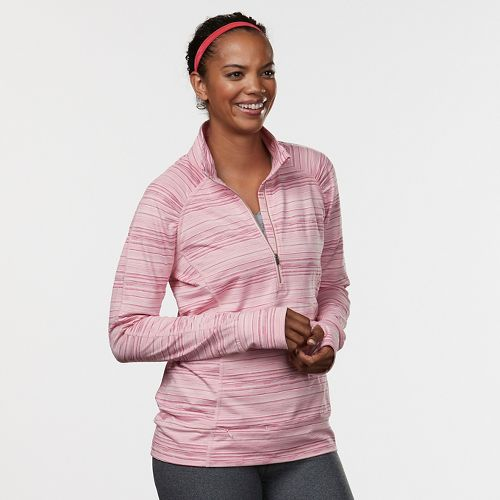 Womens Road Runner Sports Set the Stage Striped Half-Zip Long Sleeve Technical Tops - Blush ...