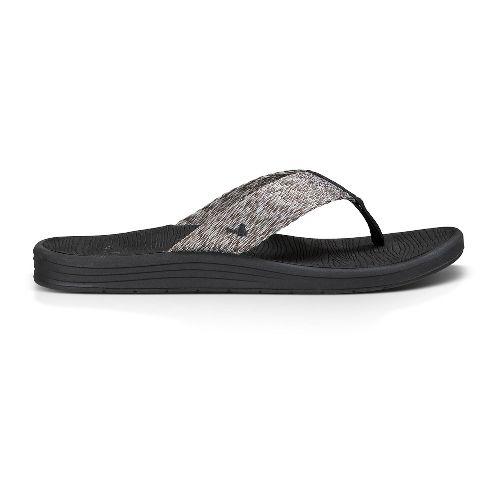 Mens Sanuk Compass Webbing Sandals Shoe - Black/Charcoal/Grey 12