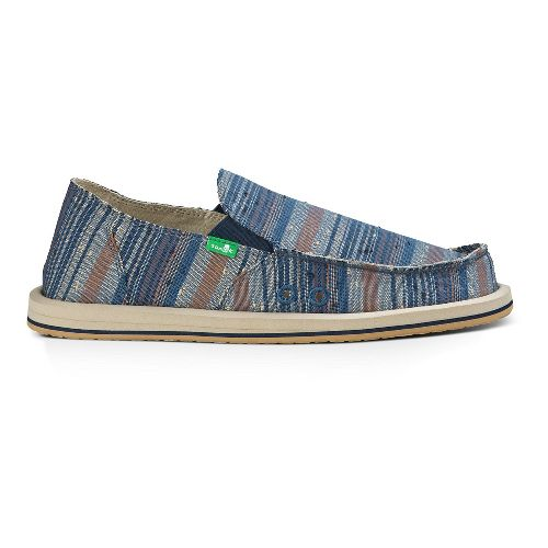 Mens Sanuk Donny Casual Shoe - Blue Vintage Denim Strip 9