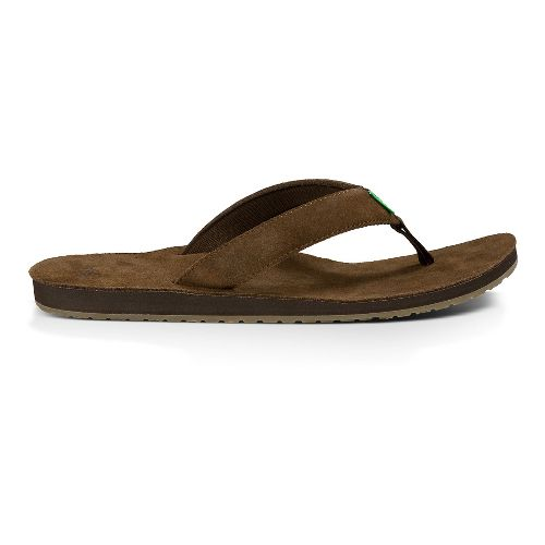 Mens Sanuk Fraid Suede Sandals Shoe - Brown 10