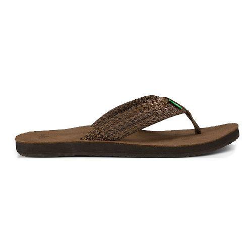 Mens Sanuk Fraid Webbing Sandals Shoe - Dark Brown 9