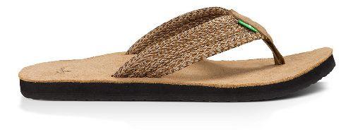Mens Sanuk Fraid Webbing Sandals Shoe - Multi Brown 12