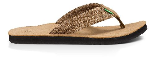 Mens Sanuk Fraid Webbing Sandals Shoe - Multi Brown 9