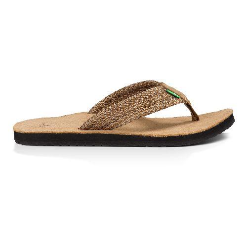Mens Sanuk Fraid Webbing Sandals Shoe - Multi Brown 8