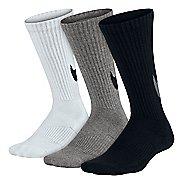 Nike Kids Graphic Cotton Cushion Crew Sock 3 pack Socks - Black/White/Grey S