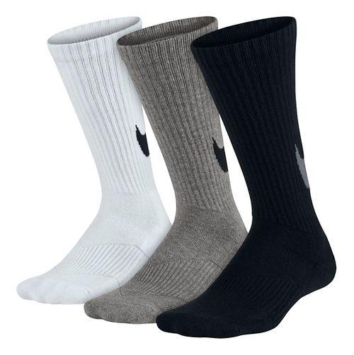 Nike Kids Graphic Cotton Cushion Crew Sock 3 pack Socks - Black/White/Grey M