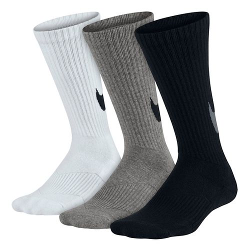 Nike Kids Graphic Cotton Cushion Crew Sock 3 pack Socks - Black/White/Grey S