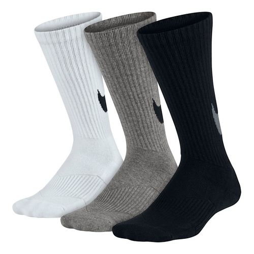 Kids Nike Graphic Cotton Cushion Crew Sock 3 pack Socks - Black/White/Grey S