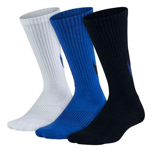 Nike Kids Graphic Cotton Cushion Crew Sock 3 pack Socks - White/Blue/Black M
