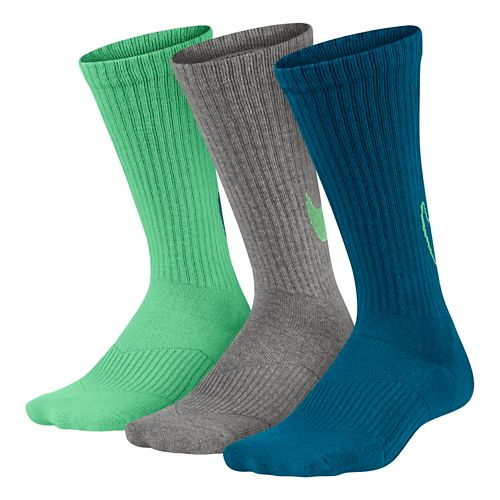 Nike Kids Graphic Cotton Cushion Crew Sock 3 pack Socks - Green/White/Blue S