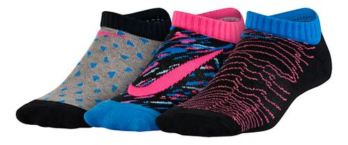 Nike Girls Graphic Lightweight Cotton No Show 3 pack Socks - Grey/Black/Pink S