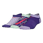 Nike Girls Graphic Lightweight Cotton No Show 3 pack Socks - Grey/Purple M