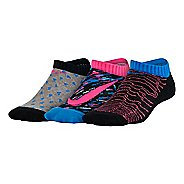 Kids Nike Graphic Lightweight Cotton No Show Sock 3 pack Socks