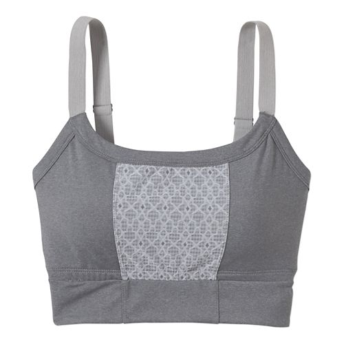 Womens Prana Petit Crop Top Sports Bras - Heather Grey L