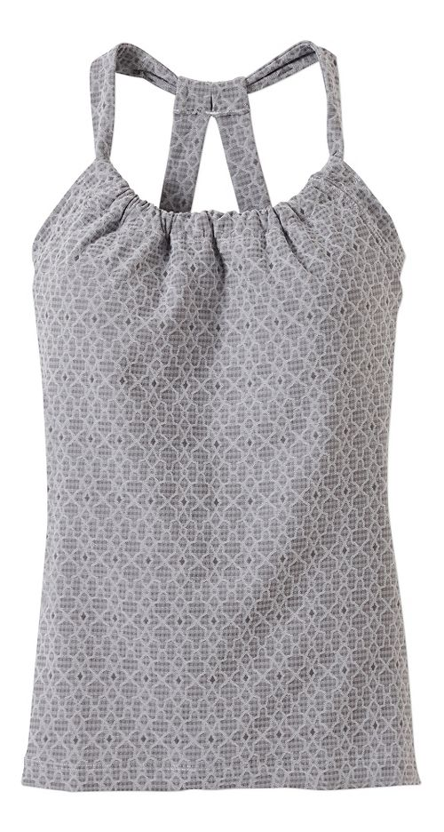 Womens prAna Quinn Jacquard Sleeveless & Tank Tops Technical Tops - Silver Jacquard XL