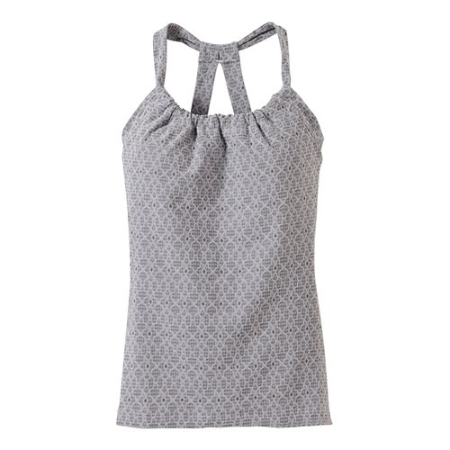 Womens prAna Quinn Jacquard Sleeveless & Tank Tops Technical Tops - Silver Jacquard L