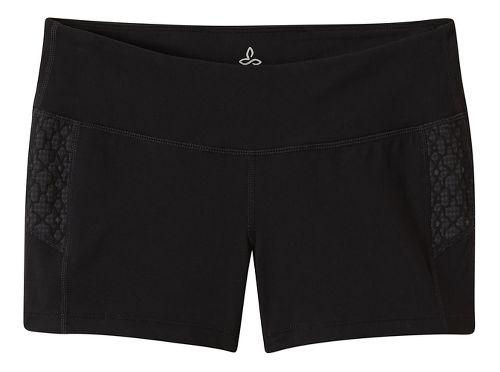 Womens Prana Lennox Compression & Fitted Shorts - Black Jacquard L