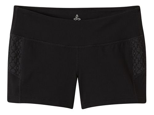 Womens Prana Lennox Compression & Fitted Shorts - Black Jacquard S