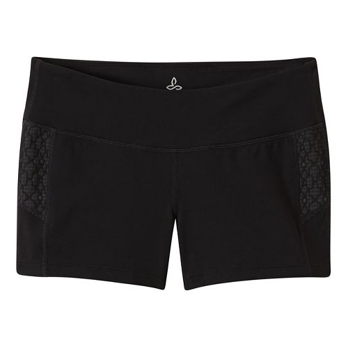 Womens Prana Lennox Compression & Fitted Shorts - Black Jacquard L
