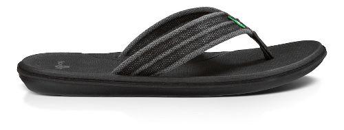 Mens Sanuk Planer Webbing Sandals Shoe - Black 8