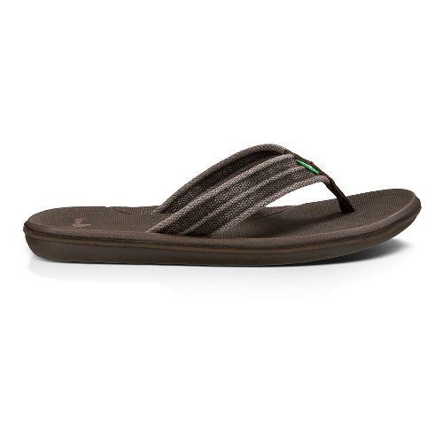 Mens Sanuk Planer Webbing Sandals Shoe - Brown 9