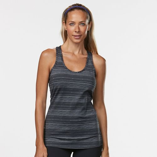 Womens R-Gear Revive Striped Racerback Sleeveless & Tank Technical Tops - Black Stripe L