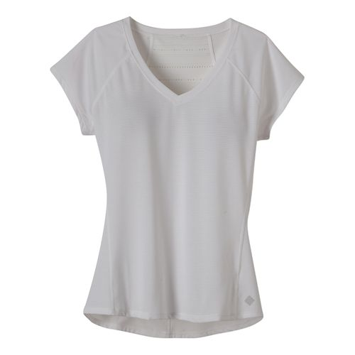 Womens Prana Lattice Top Short Sleeve Technical Tops - White M