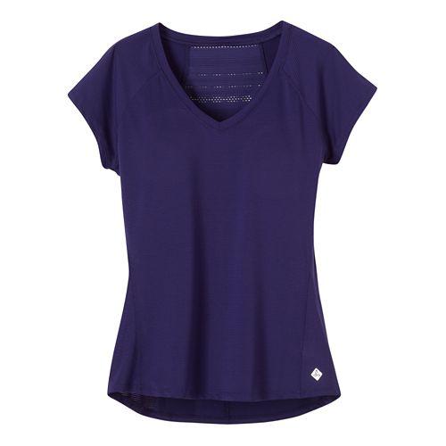 Womens Prana Lattice Top Short Sleeve Technical Tops - Indigo XS