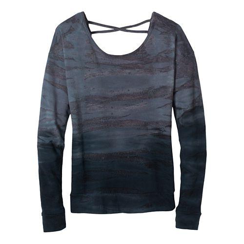 Womens Prana Deelite Pullover Long Sleeve Technical Tops - Coal XL