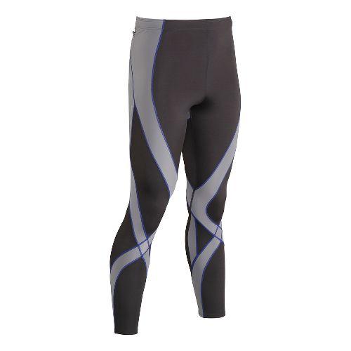 Mens CW-X Endurance Pro Tights & Leggings - Grey/Light Grey/Blue L