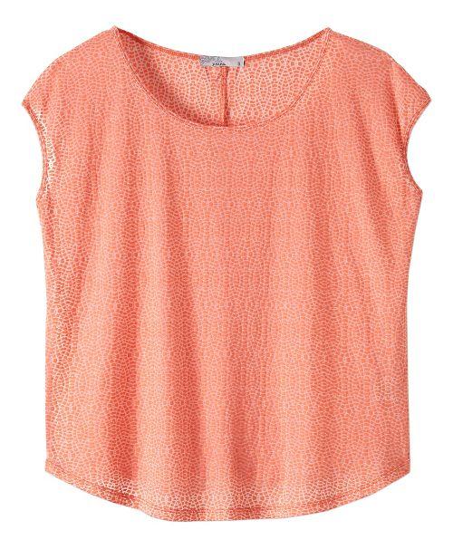 Womens prAna Tandi Short Sleeve Technical Tops - Bright Coral M