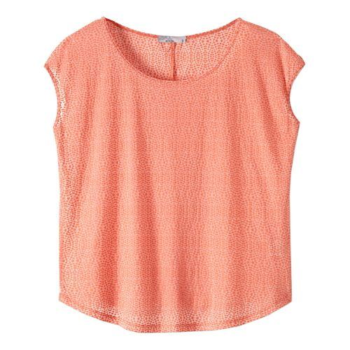 Womens prAna Tandi Short Sleeve Technical Tops - Bright Coral L
