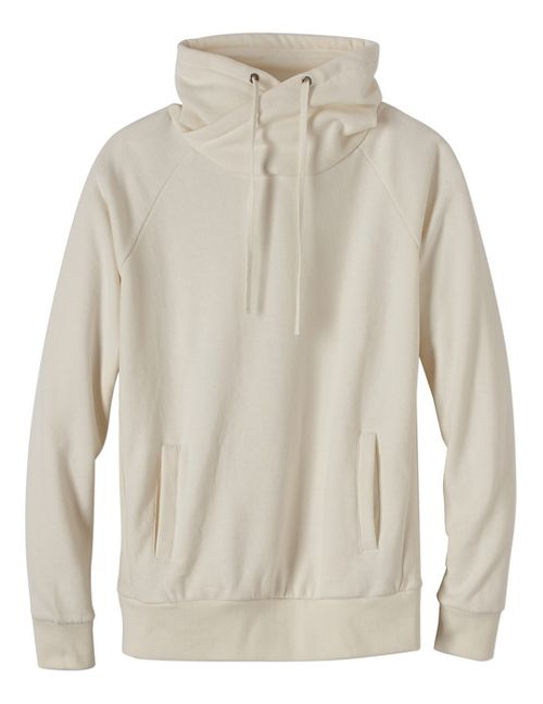 Womens prAna Gotu Pullover Half-Zips & Hoodies Technical Tops - White/White L