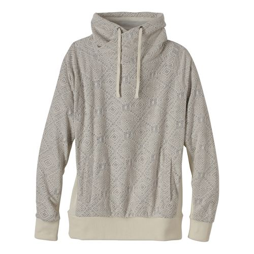 Womens prAna Gotu Pullover Half-Zips & Hoodies Technical Tops - White/White/White M